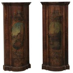 Pair of Italian Column Style Commodes from the Early 19th Century, Hand-Painted