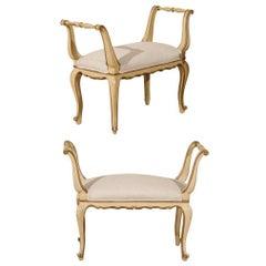 Pair of Italian Vintage Stools w/Original Painted Wood & New Belgian Linen Seats