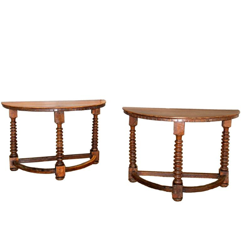 Pair of 18th C. Italian Demilune Walnut Consoles