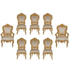 Set of Eight Italian Early 19th Century Louis XV Style Giltwood Dining Chairs
