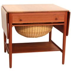 Hans Wegner Sewing Table in Solid Teak
