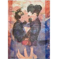 Two Girls and Girl, Double Pop Art Artwork in Plexiglass Frame by Pol Mara, 1997