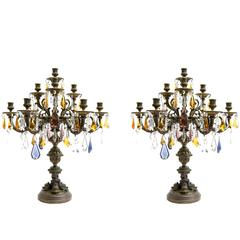 Bronze Pair of Candelabra or Table Centerpieces with Colored Crystals