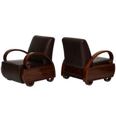 Chinese Deco Leather Rosewood Lounge Chairs, 1920s-1930s