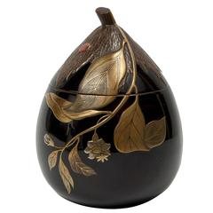 Meiji Japanese Lacquered Incense Burner Kaki Shape 'Koro'