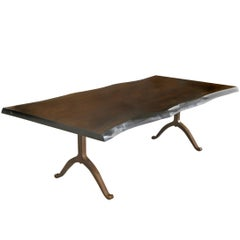 Sentient Signature Live Edge Black Walnut Slab Table Bronzed Steel Wishbone Legs