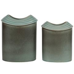 Pair of Mid-Century Modernist Hand Glazed Ceramic Vases by Rosenthal