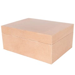 Chic Modernist Lizard Skin Wrapped Box in Natural Tones