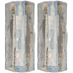 Pair of Iridiscent and Clear Paneled Murano Sconces by Fratelli Toso Marea