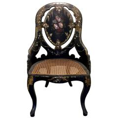 1880s Victorian Papier Mâché Petite Slipper Chair