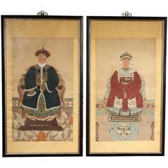 Pair of Chinese Ancestral Portraits Gouache on Paper