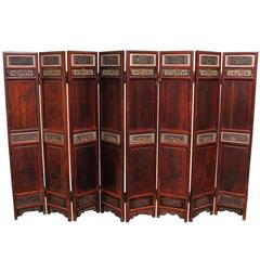 Antique Chinese Eight-Panel Screen