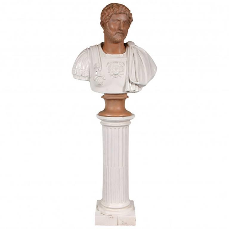 Italian Terracotta Bust of a Decorated Emperor with White Glazed Robe For Sale