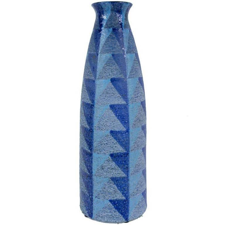 Tall Blue Geometric Designed Ceramic Vase by Bitossi
