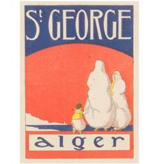 """Graphic Art Deco Framed Travel Poster """"Alger"""""""