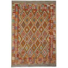 Handmade Kilim Rugs, Traditional Rugs, Multicolored Afghan Rugs, Floor Carpet