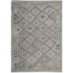 Handwoven Kilim Rugs, Primitive Carpet Grey Area Floor Rug