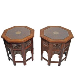Pair of Octagonal Brass Inlaid Tabouret Side Tables