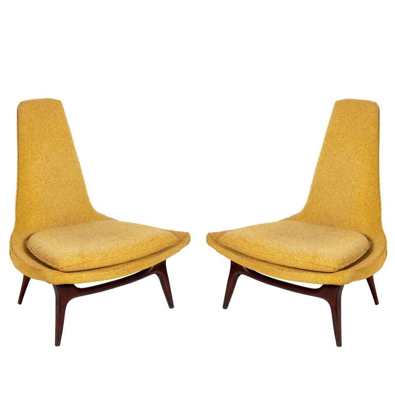 Pair Of Sculptural Mid Century Modern Lounge Chairs By
