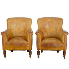 Quality Pair of Art Deco Leather Club Lounge Chairs