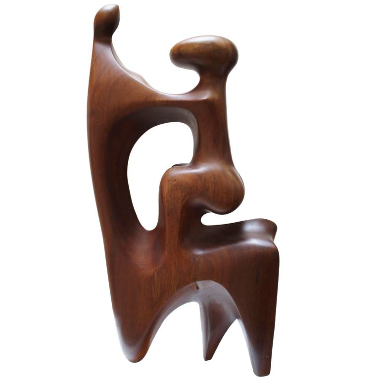 Large Abstract Mother and Child Wood Sculpture 1