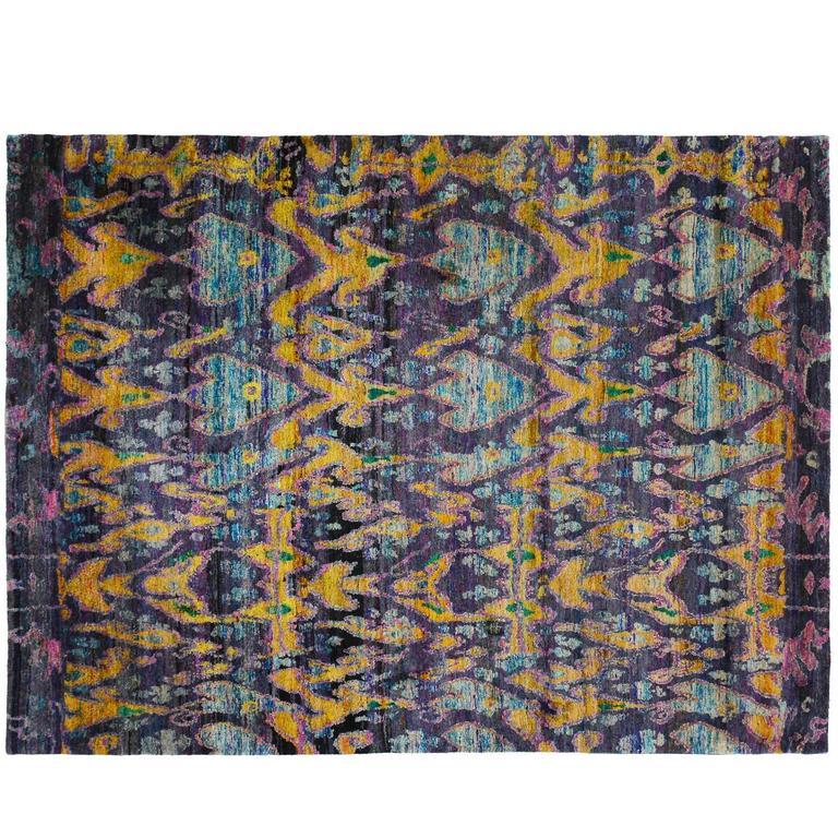 indian sari silk rug for sale at 1stdibs