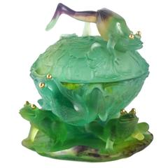 Whimsical Pate De Verre Covered Bowl with Frogs by Daum Nancy