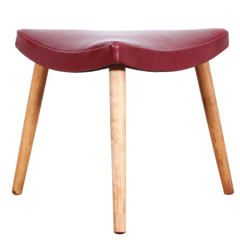 Mid Century Modern Danish Three Legs Stool In Oak For