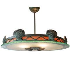 Böhlmarks Attributed, Verdigris Bronze & Glass Swedish Grace Period Chandelier