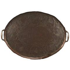 Arts and Crafts Copper Twin Handled Oval Tray by John Pearson