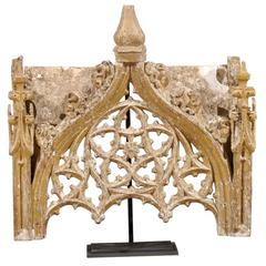 Italian 18th Century Gilded Wood Fragment on Stand with Intricate Carvings
