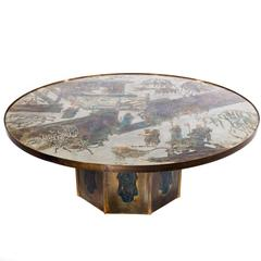 """Round """"Chan"""" Cocktail Table by Phillip and Kelvin Laverne, circa 1960s"""