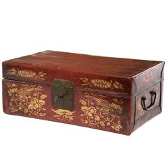 Chinese Red Leather Box with Gold-Stencil Foliate Ornamentation