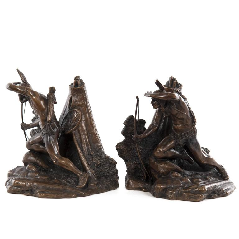 Pair of Native American Figural Bookends 1
