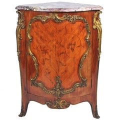 19th Century, French, Kingwood Marquetry Corner Cabinet