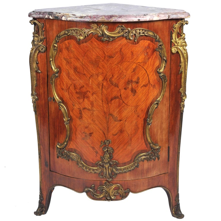 19th Century, French, Kingwood Marquetry Corner Cabinet For Sale