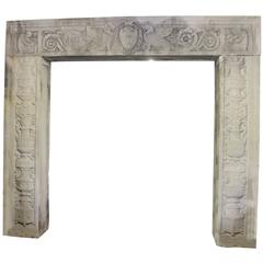 1929 Large Three-Piece Carved Limestone Entryway from the Doctors Hospital NYC