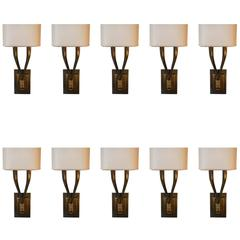 Set of 10Two-Arm Brushed Brass Sconces