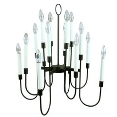 Lightolier Black Enamel Sixteen-Light Mid-Century Light Fixture
