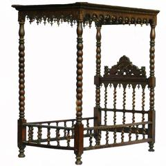 19th Century Four-Poster Bed Single Childs Daybed Carved Colonial Portuguese