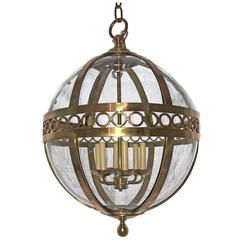Pair of Bronze Lanterns with Molded Glass