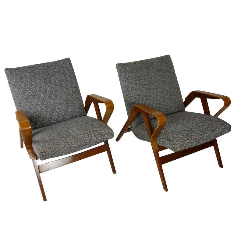Pair of Bentwood Czech Tatra Nabytok Chairs, circa 1950 For Sale