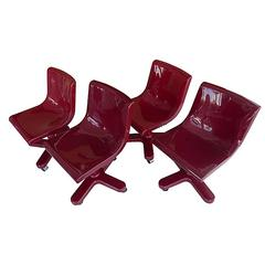 Set of Four Desk Chairs by Ettore Sottsass for Olivetti