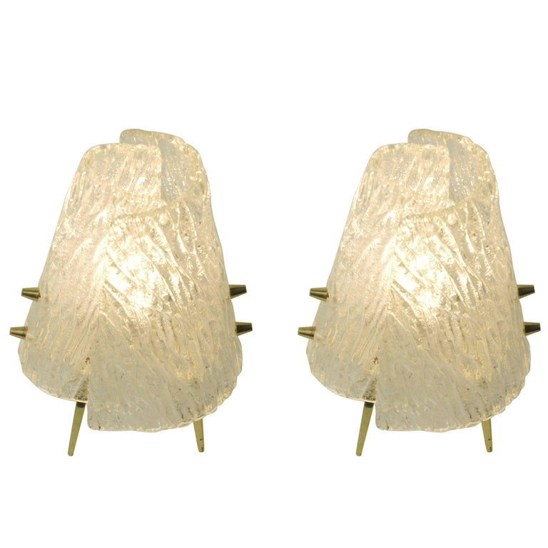 Pair of Austrian Midcentury Ice Glass and Brass Table Lamps by J.T. Kalmar