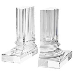 Crystal Glass Set of Two Bookends