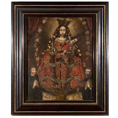 Portrait Madonna and Child with Two Priests/Saints, Escuela Cuzqueña