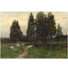 Fine Landscape Painting of Sheep Grazing by Robert Ward van Boskerck