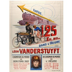 Original Vintage World Record Sport Cycling Poster Featuring Leon Vanderstuyft