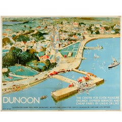 Original London & North Eastern Railway LNER LMS Poster for Dunoon on the Clyde