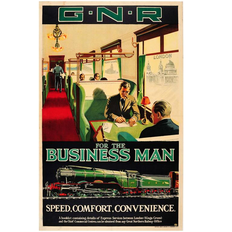 """Original Vintage Great Northern Railway Poster """"G.N.R. for the Business Man"""" For Sale"""